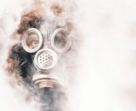Spooky man in respirator photo