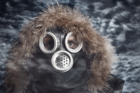 gasmask: Man in respirator oudoor