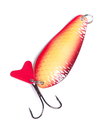 Fishing spinner isolated on white background Stock Photo