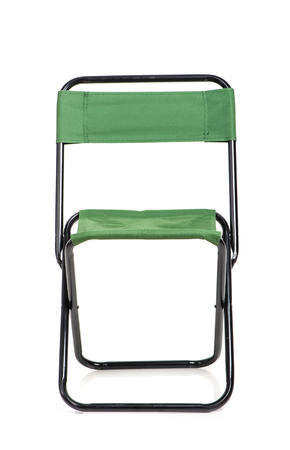 portative: Folding chair with green fabric isolated on white background