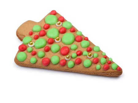 christmas gingerbread tree cookie isolated on white background stock photo 71160694 - Christmas Gingerbread