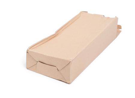 Damaged cardboard box isolated on white Stock Photo