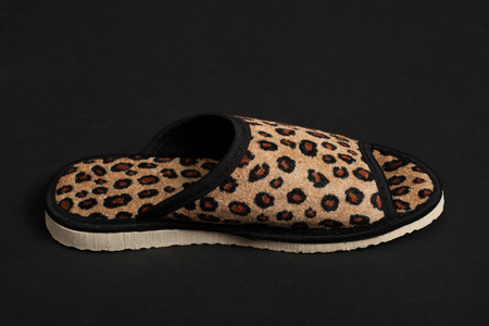 Single slipper on black background Stock Photo