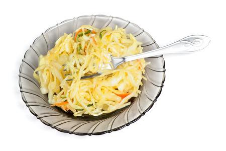 Sauerkraut salad on plate isolated