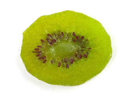 Slice of dried kiwi fruit isolated on white background Stock Photo