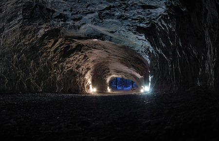 Stone cave inside near the entrance