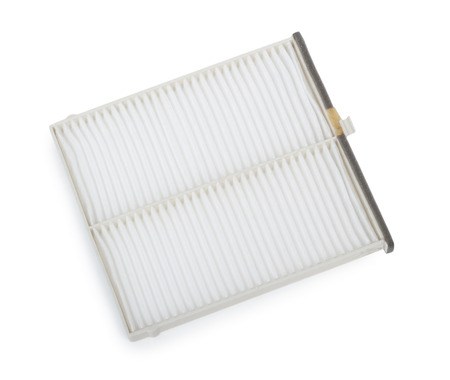 New flat engine air filter in a plastic case isolated on white background Stock fotó
