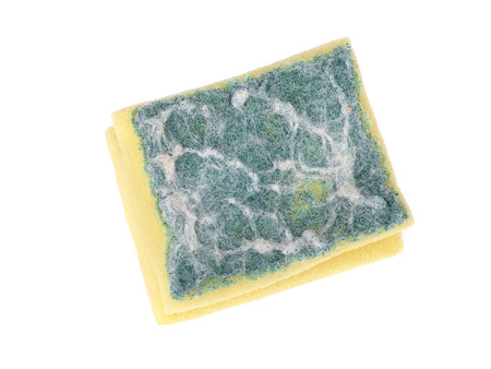 Old and dirty kitchen dish washing sponge isolated on white backgrounnd, Fiber Absorbent Yellow Sponges Cleaning