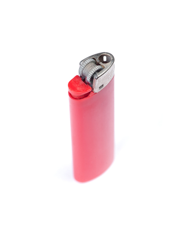Red plastic gas disposable lighter isolated on white background