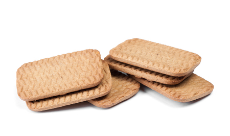 Several rectangular chip cookies isolated on white