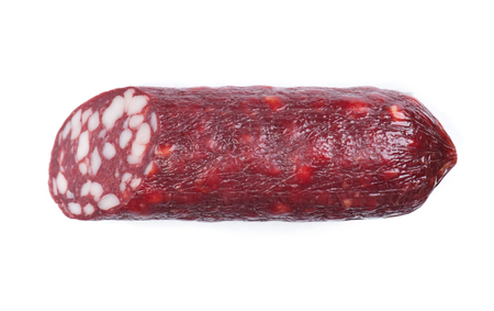 Cut part of smoked salami sausage isolated on white Foto de archivo