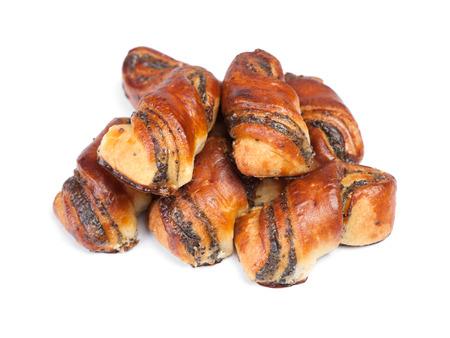 Heap of fresh buns with poppy seed isolated on white background Zdjęcie Seryjne