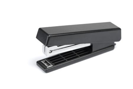 One black stapler isolated on white background Foto de archivo