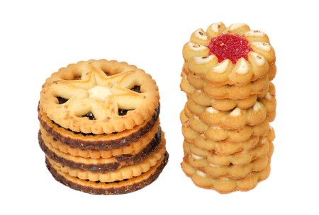 Tower of sweet cookies isolated on white background