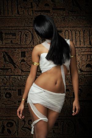 Sexy Egyptian mummy female in bandages