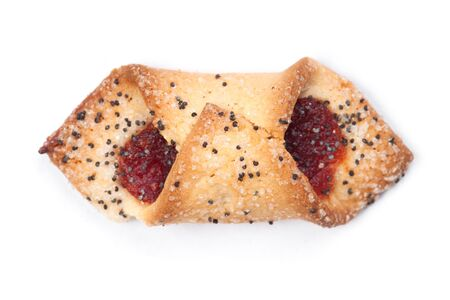One cookie with poppy seeds and jam isolated on white background
