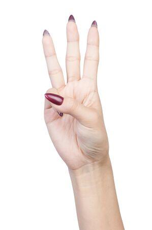 Female hand finger number isolated on white background Stock Photo