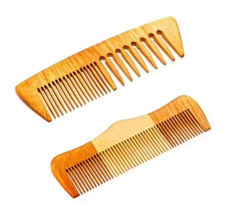 Two wooden hairbrushes isolated