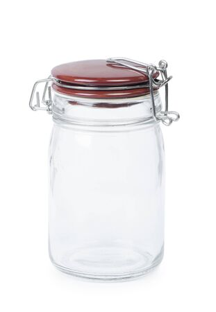 Empty glass jar with lid isolated on white Stock Photo