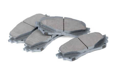 Group of brake shoes isolated on white background