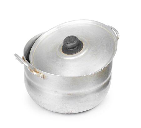 Old aluminum pan isolated on white background