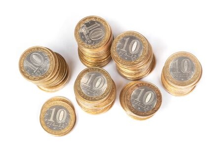 Stack of Russian jubilee coins of ten rubles isolated on white background Stock fotó