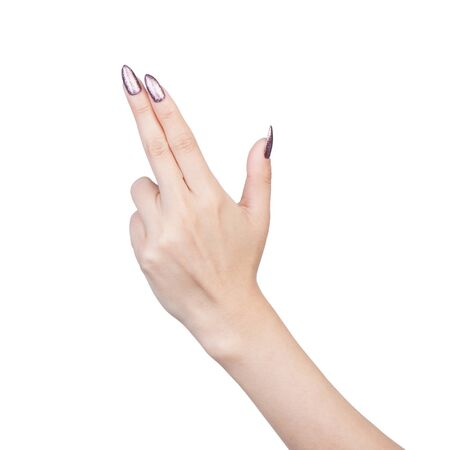 Close up of female hand gesture with manicure isolated on white 版權商用圖片