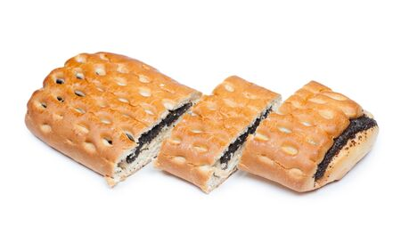 Sliced bun with poppy seeds isolated on white