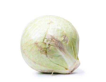 Damaged head of cabbage isolated on white