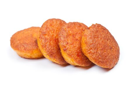 Group of small thin carrot muffins isolated on white background Stok Fotoğraf