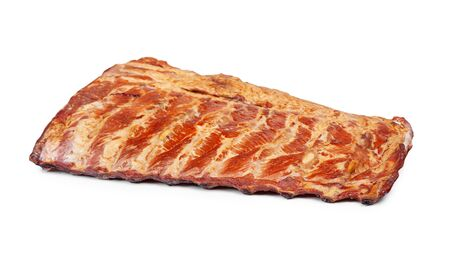 Piece of smoked pork ribs isolated on white background