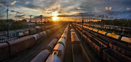 Train at the railway station in Russian Federation