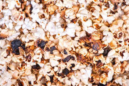Background of burnt dark popcorn
