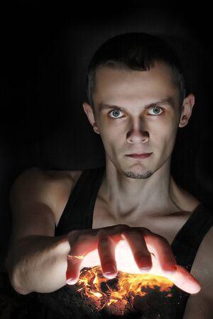Wizard man with fire fireball
