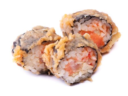 Hot sushi roll in batter isolated on white background
