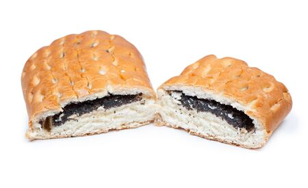 Sliced bun with poppy seeds isolated over white background