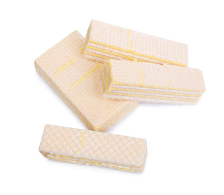 Group of wafers isolated over white background