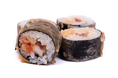 Sushi rolls with nori and seafood, in baked breaded isolated on white background 版權商用圖片