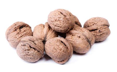 Group of big whole walnuts isolated on white background