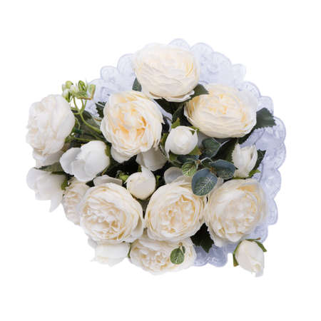 Wedding bouquet of artificial white roses isolated over white background Imagens