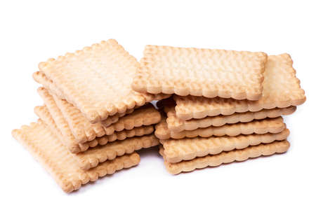 Stack of rectangular cookies isolated over white background