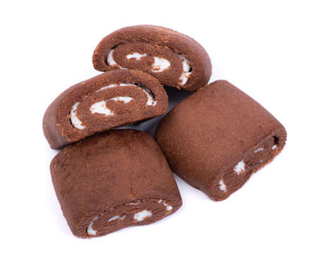 Short chocolate rolls isolated on white background