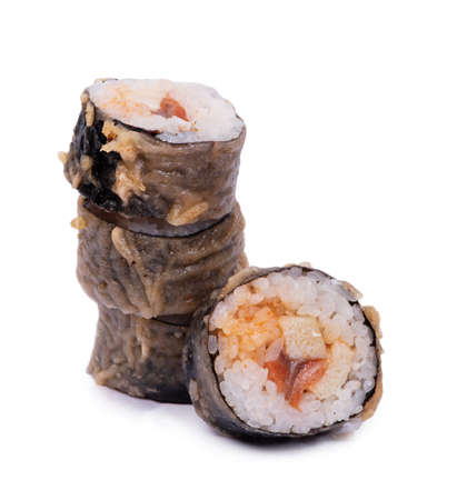 Sushi rolls with nori and seafood, in baked breaded isolated on white background Stockfoto