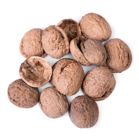 Heap of empty walnuts shell isolated on white background Reklamní fotografie - 150885314