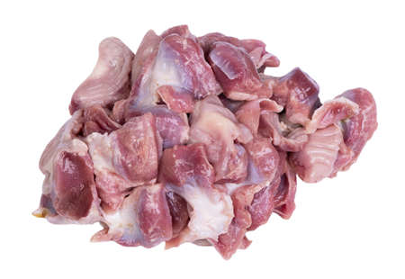 Heap of raw poultry stomachs isolated on white background