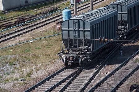 Rail freight cars at the railway station Standard-Bild