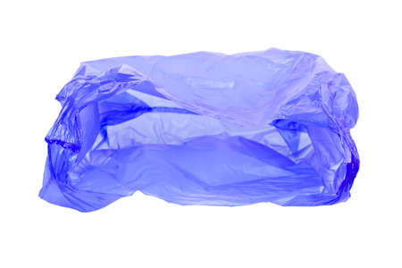 Transparent plastic bag with handles isolated over white background