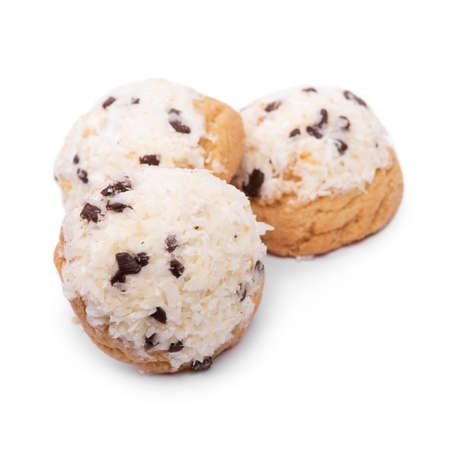 Confectionery with coconut flakes and chocolate chips isolated over white background