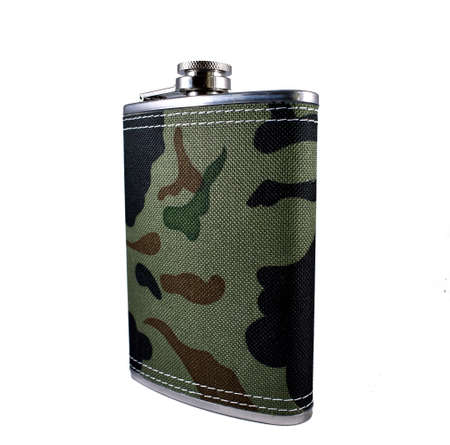 men's flask for drinks on a white background