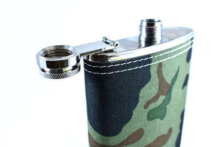 men's metal flask on a white background